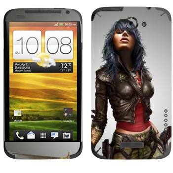 Виниловая наклейка «Девушка с мечом» на телефон HTC One X