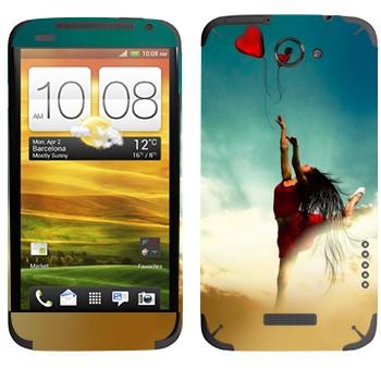 Виниловая наклейка «Девушка-танцор с шариком» на телефон HTC One X