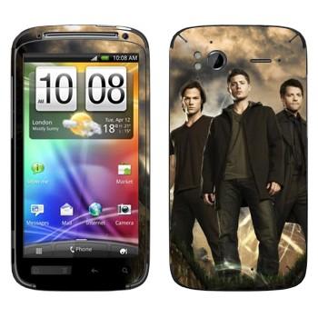 Виниловая наклейка «Дин, Сэм, Кастиэль - Сверхъестественное» на телефон HTC Sensation