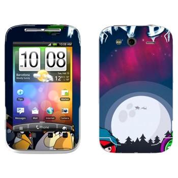 Виниловая наклейка «Angry Birds зимой» на телефон HTC Wildfire S