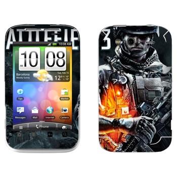 Виниловая наклейка «Battlefield 3 - военный» на телефон HTC Wildfire S