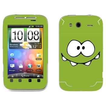 Виниловая наклейка «Om Nom» на телефон HTC Wildfire S