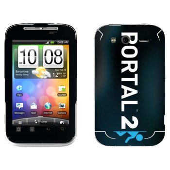 Виниловая наклейка «Portal 2 логотип вертикальный» на телефон HTC Wildfire S