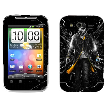 Виниловая наклейка «Watch Dogs - Эйден Пирс и осколки стекла» на телефон HTC Wildfire S