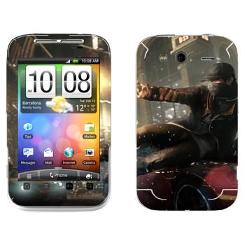 Виниловая наклейка «Watch Dogs - Эйден Пирс скользит по машине» на телефон HTC Wildfire S