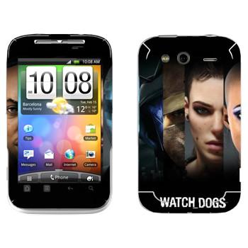 Виниловая наклейка «Watch Dogs - Все персонажи» на телефон HTC Wildfire S