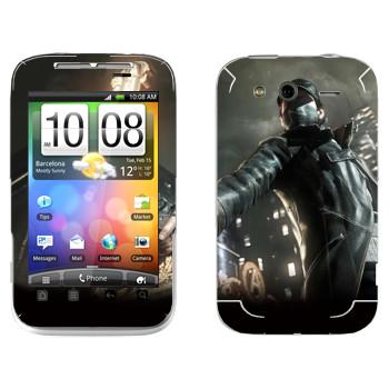 Виниловая наклейка «Watch_Dogs» на телефон HTC Wildfire S