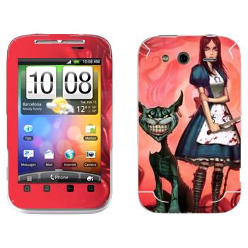 Виниловая наклейка «Алиса и Чеширский кот - Алиса: безумие возвращается» на телефон HTC Wildfire S