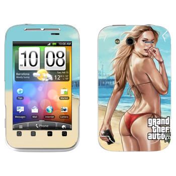 Виниловая наклейка «Горяча штучка - GTA5» на телефон HTC Wildfire S