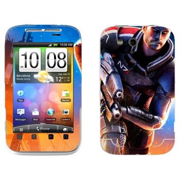Виниловая наклейка «Капитан Шепард - Mass effect» на телефон HTC Wildfire S