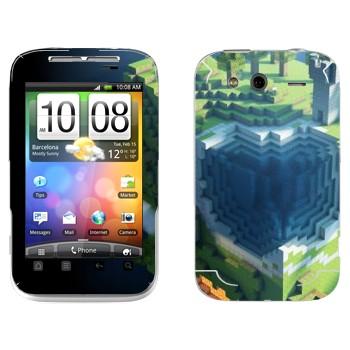 Виниловая наклейка «Куб Minecraft» на телефон HTC Wildfire S