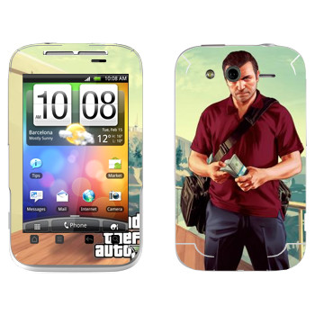Виниловая наклейка «Майкл - GTA5» на телефон HTC Wildfire S