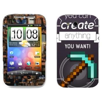 Виниловая наклейка «Редактор в Minecraft» на телефон HTC Wildfire S