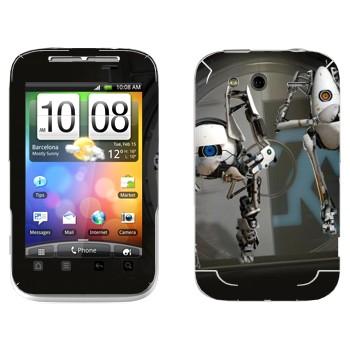 Виниловая наклейка «Роботы из Portal 2» на телефон HTC Wildfire S