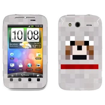 Виниловая наклейка «Волк - Minecraft» на телефон HTC Wildfire S