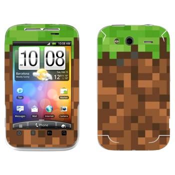 Виниловая наклейка «Земля в Minecraft» на телефон HTC Wildfire S