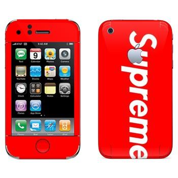 Виниловая наклейка «Supreme на красном фоне» на телефон Apple iPhone 3G