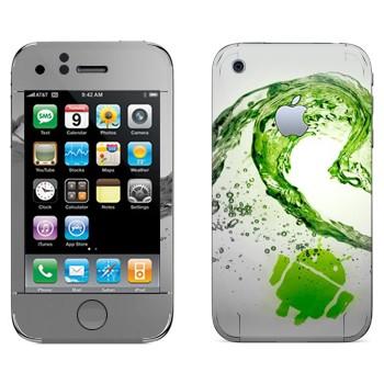 Виниловая наклейка «Андроид зеленая волна» на телефон Apple iPhone 3G