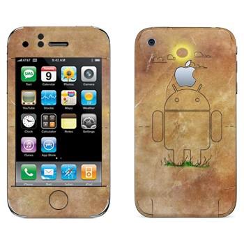Виниловая наклейка «Эмблема Андроид на бумаге» на телефон Apple iPhone 3G