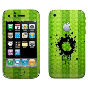 Виниловая наклейка «Лого Apple на зеленой стене» на телефон Apple iPhone 3G