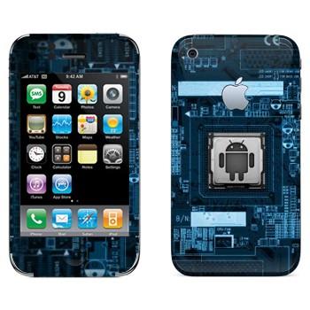 Виниловая наклейка «Логотип Android на материнской плате» на телефон Apple iPhone 3G
