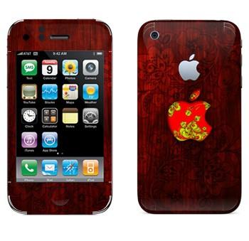 Виниловая наклейка «Логотип Apple хохломой» на телефон Apple iPhone 3G