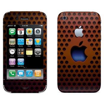 Виниловая наклейка «Логотип Apple на коричневой сетке» на телефон Apple iPhone 3G