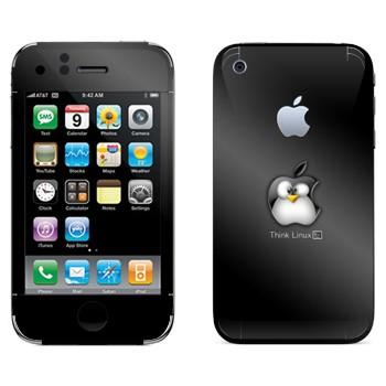 Виниловая наклейка «Пингвин Linux как логотип Apple» на телефон Apple iPhone 3G