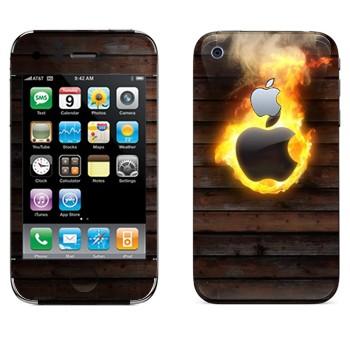 Виниловая наклейка «Пылающий логотип Apple» на телефон Apple iPhone 3G
