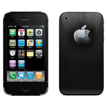 Виниловая наклейка «Стальной логотип Apple» на телефон Apple iPhone 3G