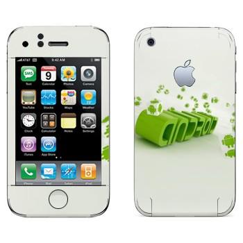 Виниловая наклейка «Зеленая надпись Android» на телефон Apple iPhone 3G