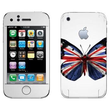 Виниловая наклейка «Флаг Британии на крыльях бабочки» на телефон Apple iPhone 3G