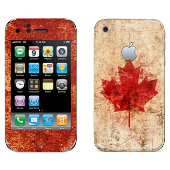 Виниловая наклейка «Флаг Канады гранж» на телефон Apple iPhone 3G