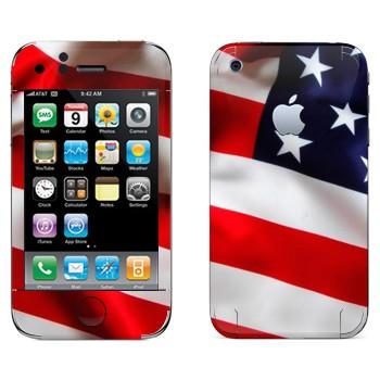Виниловая наклейка «Флаг США» на телефон Apple iPhone 3G