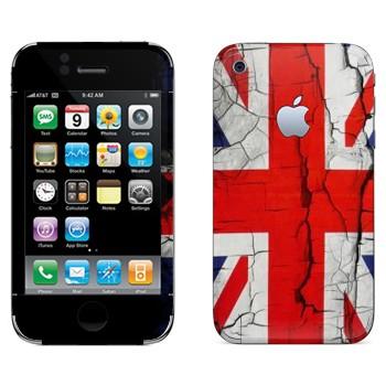 Виниловая наклейка «Флаг Великобритании потрескавшейся краской» на телефон Apple iPhone 3G