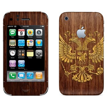 Виниловая наклейка «Герб России на дереве» на телефон Apple iPhone 3G