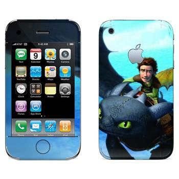 Виниловая наклейка «Дракон Беззубик и молодой викинг Иккинг» на телефон Apple iPhone 3G