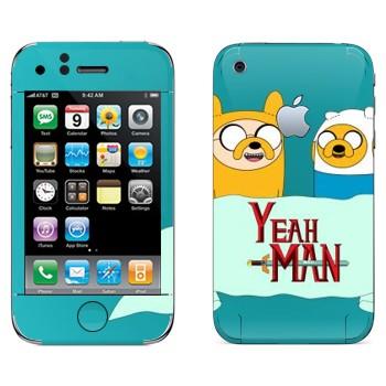 Виниловая наклейка «Финн и Джейк - Adventure Time» на телефон Apple iPhone 3G