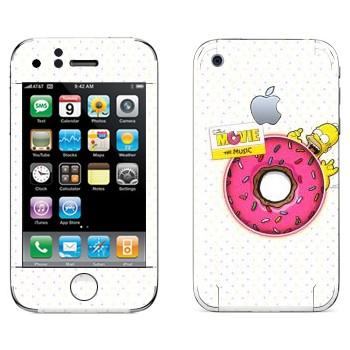 Виниловая наклейка «Гомер и гигантский пончик» на телефон Apple iPhone 3G