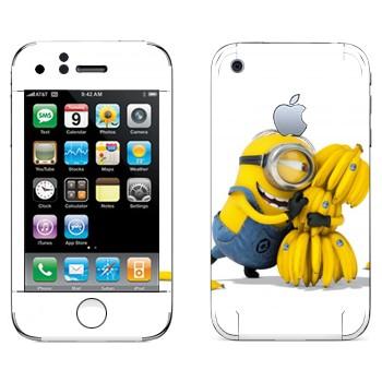 Виниловая наклейка «Миньон и бананы» на телефон Apple iPhone 3G