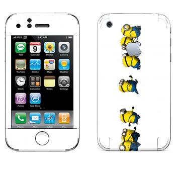 Виниловая наклейка «Миньоны бегут» на телефон Apple iPhone 3G