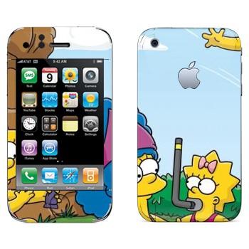 Виниловая наклейка «Семейка Симпсонов» на телефон Apple iPhone 3G