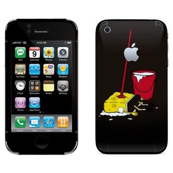 Виниловая наклейка «СпанджБоб на швабре» на телефон Apple iPhone 3G