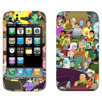 Виниловая наклейка «Все персонажи Футурамы» на телефон Apple iPhone 3G