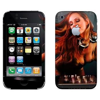 Виниловая наклейка «Девушка Диджей» на телефон Apple iPhone 3G