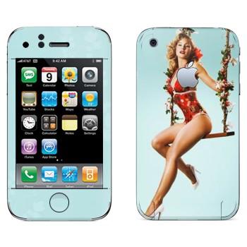 Виниловая наклейка «Девушка на качелях» на телефон Apple iPhone 3G