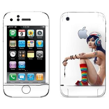 Виниловая наклейка «Девушка полуголая в наушниках» на телефон Apple iPhone 3G