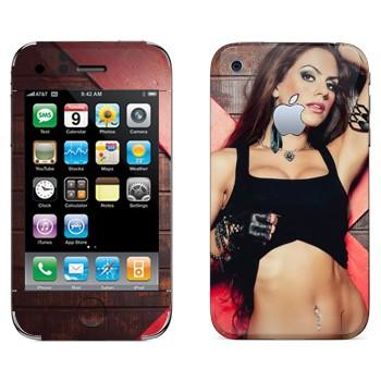 Виниловая наклейка «Девушка в топике» на телефон Apple iPhone 3G