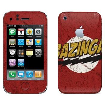 Виниловая наклейка «Bazinga - Теория большого взрыва» на телефон Apple iPhone 3GS