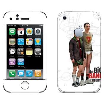 Виниловая наклейка «Шелдон и Леонард - Теория большого взрыва» на телефон Apple iPhone 3GS